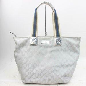 Auth Gucci Silver Canvas Tote Bag #939G81